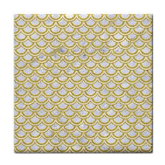 SCALES2 WHITE MARBLE & YELLOW DENIM (R) Face Towel