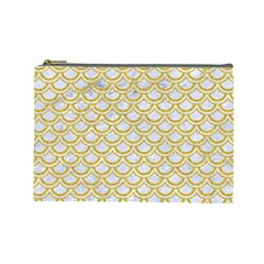 SCALES2 WHITE MARBLE & YELLOW DENIM (R) Cosmetic Bag (Large)