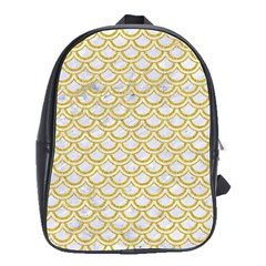 SCALES2 WHITE MARBLE & YELLOW DENIM (R) School Bag (Large)
