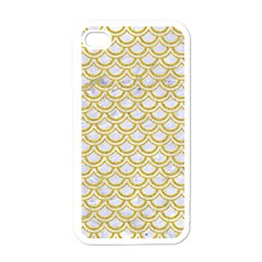 SCALES2 WHITE MARBLE & YELLOW DENIM (R) Apple iPhone 4 Case (White)