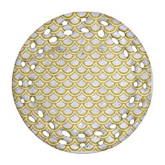SCALES2 WHITE MARBLE & YELLOW DENIM (R) Round Filigree Ornament (Two Sides)