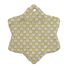 SCALES2 WHITE MARBLE & YELLOW DENIM (R) Snowflake Ornament (Two Sides)