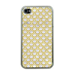 SCALES2 WHITE MARBLE & YELLOW DENIM (R) Apple iPhone 4 Case (Clear)