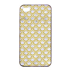 SCALES2 WHITE MARBLE & YELLOW DENIM (R) Apple iPhone 4/4s Seamless Case (Black)
