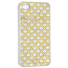 SCALES2 WHITE MARBLE & YELLOW DENIM (R) Apple iPhone 4/4s Seamless Case (White)