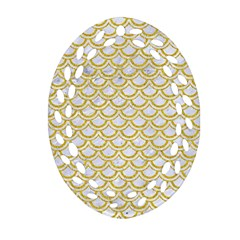 SCALES2 WHITE MARBLE & YELLOW DENIM (R) Oval Filigree Ornament (Two Sides)
