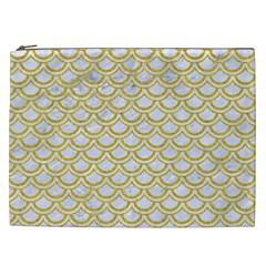 SCALES2 WHITE MARBLE & YELLOW DENIM (R) Cosmetic Bag (XXL)