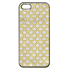 SCALES2 WHITE MARBLE & YELLOW DENIM (R) Apple iPhone 5 Seamless Case (Black)