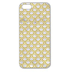 SCALES2 WHITE MARBLE & YELLOW DENIM (R) Apple Seamless iPhone 5 Case (Clear)