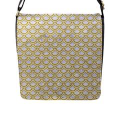 SCALES2 WHITE MARBLE & YELLOW DENIM (R) Flap Messenger Bag (L)