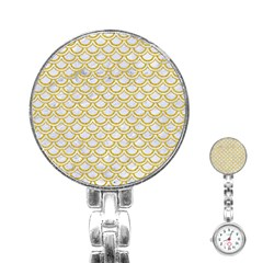 SCALES2 WHITE MARBLE & YELLOW DENIM (R) Stainless Steel Nurses Watch