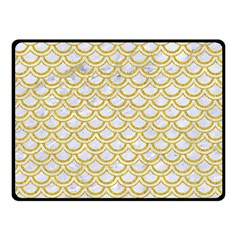 SCALES2 WHITE MARBLE & YELLOW DENIM (R) Double Sided Fleece Blanket (Small)