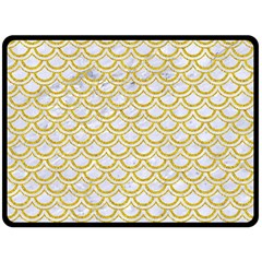 SCALES2 WHITE MARBLE & YELLOW DENIM (R) Double Sided Fleece Blanket (Large)