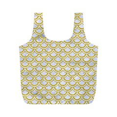 SCALES2 WHITE MARBLE & YELLOW DENIM (R) Full Print Recycle Bags (M)