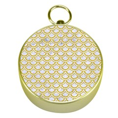 SCALES2 WHITE MARBLE & YELLOW DENIM (R) Gold Compasses