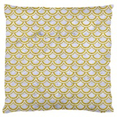 SCALES2 WHITE MARBLE & YELLOW DENIM (R) Large Flano Cushion Case (One Side)