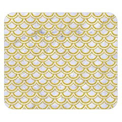 SCALES2 WHITE MARBLE & YELLOW DENIM (R) Double Sided Flano Blanket (Small)