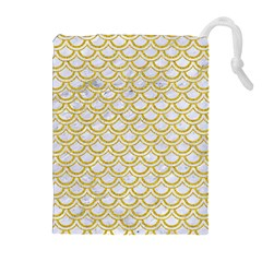 SCALES2 WHITE MARBLE & YELLOW DENIM (R) Drawstring Pouches (Extra Large)