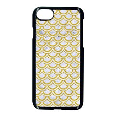 SCALES2 WHITE MARBLE & YELLOW DENIM (R) Apple iPhone 8 Seamless Case (Black)
