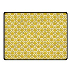 Scales2 White Marble & Yellow Denim Double Sided Fleece Blanket (small)  by trendistuff