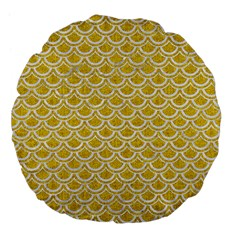 Scales2 White Marble & Yellow Denim Large 18  Premium Flano Round Cushions