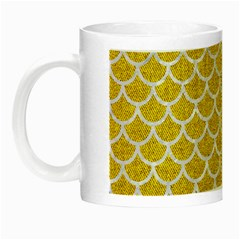 Scales1 White Marble & Yellow Denim Night Luminous Mugs by trendistuff