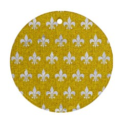 Royal1 White Marble & Yellow Denim (r) Round Ornament (two Sides) by trendistuff