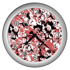 Textured Floral Collage Wall Clocks (silver)  by dflcprints