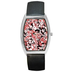 Textured Floral Collage Barrel Style Metal Watch by dflcprints