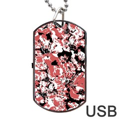 Textured Floral Collage Dog Tag Usb Flash (one Side) by dflcprints