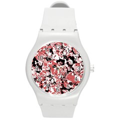 Textured Floral Collage Round Plastic Sport Watch (m) by dflcprints