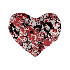 Textured Floral Collage Standard 16  Premium Flano Heart Shape Cushions by dflcprints