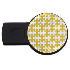 Puzzle1 White Marble & Yellow Denim Usb Flash Drive Round (4 Gb) by trendistuff