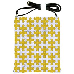 Puzzle1 White Marble & Yellow Denim Shoulder Sling Bags by trendistuff