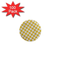 Houndstooth2 White Marble & Yellow Denim 1  Mini Magnets (100 Pack)  by trendistuff