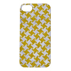 Houndstooth2 White Marble & Yellow Denim Apple Iphone 5s/ Se Hardshell Case by trendistuff
