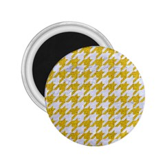 Houndstooth1 White Marble & Yellow Denim 2 25  Magnets by trendistuff