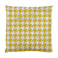 Houndstooth1 White Marble & Yellow Denim Standard Cushion Case (two Sides)