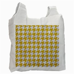 Houndstooth1 White Marble & Yellow Denim Recycle Bag (one Side) by trendistuff