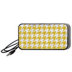 Houndstooth1 White Marble & Yellow Denim Portable Speaker by trendistuff