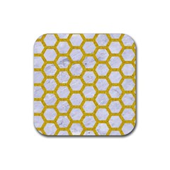 Hexagon2 White Marble & Yellow Denim (r) Rubber Square Coaster (4 Pack)