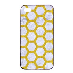 Hexagon2 White Marble & Yellow Denim (r) Apple Iphone 4/4s Seamless Case (black) by trendistuff