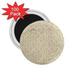 Hexagon1 White Marble & Yellow Denim (r) 2 25  Magnets (100 Pack)  by trendistuff