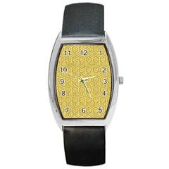 Hexagon1 White Marble & Yellow Denim Barrel Style Metal Watch by trendistuff