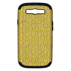 Hexagon1 White Marble & Yellow Denim Samsung Galaxy S Iii Hardshell Case (pc+silicone) by trendistuff