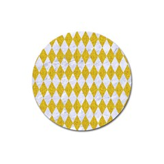 Diamond1 White Marble & Yellow Denim Magnet 3  (round) by trendistuff