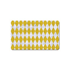 Diamond1 White Marble & Yellow Denim Magnet (name Card) by trendistuff