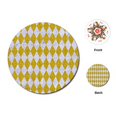 Diamond1 White Marble & Yellow Denim Playing Cards (round)  by trendistuff