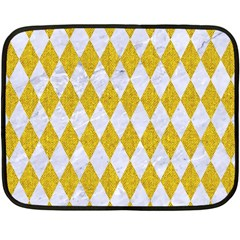 Diamond1 White Marble & Yellow Denim Fleece Blanket (mini) by trendistuff