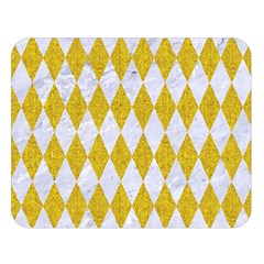 Diamond1 White Marble & Yellow Denim Double Sided Flano Blanket (large)  by trendistuff